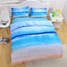 Summer Bedding Sets Canada - Summer Bedding Set Beach Ocean Duvet Cover Sets Twin Queen King Size 3PCS Blue Polyester Beddings Bedspreads