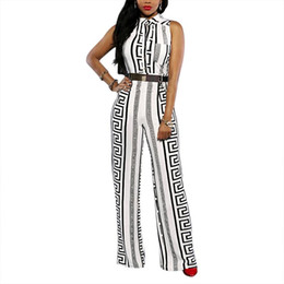 cd0656f4e3f9 Wholesale- 2017 summer Bohemian style beach V-neck single breasted women  jumpsuits Geometric printed sleeveless overall with sashes