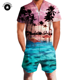 82fece154eba Fashion Flamingos Mens Jumpsuit Summer Casual Rompers Short Sleeve Male One-piece  Mens Suits Shorts shirt Slim Coverall Bodysuit