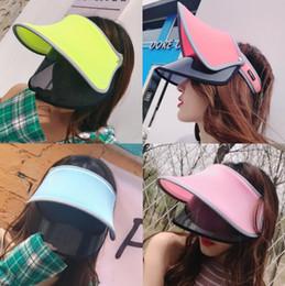 camping hiking hats 2019 - 6 styles Double Hats Visor Sun Hat Female Summer Sun Empty Top Cap UV Sun Hat Woman Beach Hat FFA345 200PCS discount cam