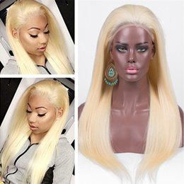 bleach blonde lace wigs NZ - #613 Blonde Virgin Brazilian Lace Front Human Hair Wigs with Baby Hair Silky Straight Bleach Blonde Full Lace Wigs Glueless 130 Density