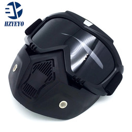 Ingrosso Nuova maschera modulabile Occhiali protettivi e filtro bocca perfetti per casco da motociclista o caschi vintage a faccia aperta