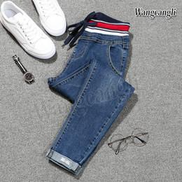 Ingrosso 2018 primavera Jeans per le donne di grandi dimensioni 5XL piedi Harlan jeans taille haute femme straniero nove pantaloni spedizione gratuita 013 #