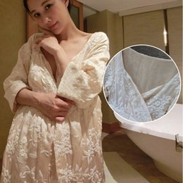 2018 New Style Women Sleeping Robes Hand-Made Embroidery Lace Long Bathrobe  Kimono Sexy Thicken Winter Sleepwear Female LMR04 d750530be