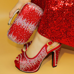 Green Women Shoes Ribbon Lace Australia - vivilace Hot Sale African Rhinestones red Color Shoes And Bag Set Italian Shoes With Matching Bags And Party Shoes ME77
