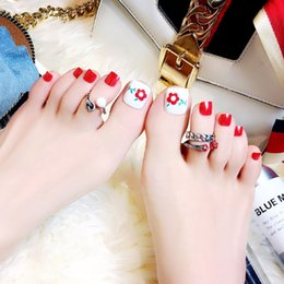 red nails white tips nz 24pcs set flower white red toe fake nails nails short