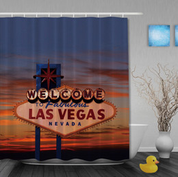 Wholesale custom printed signs online – design The Sign of Welcome to Fabulous Las Vegas Nevada Art Print Fabric Custom Shower Curtains Waterproof With Hooks Bathroom Curtain