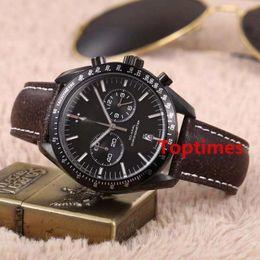 Nylon Coating Australia - Men Watch Luxury Master MOONWATCH Black Coated Nylon Fabric Strap Foldover Clasp 44 MM Vintage Quartz Chronograph Speed Watches Wristwatch