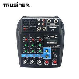 Venta caliente TEYUN A4 Portátil Mini 4 canales Interfaz de Audio Digital Consola Mezcladora con USB Bluetooth para Home Studio PC Computadora Portátil