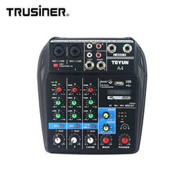 Vente chaude TEYUN A4 Portable Mini 4 Canaux Console D'interface Audio Numérique Console avec USB Bluetooth pour Home Studio PC Ordinateur Portable