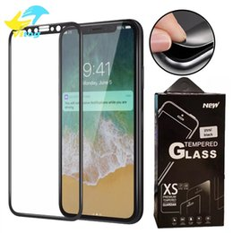 Iphone hd screen protectors online shopping - For iPhone plus X XR XS MAX Soft Edge full cover Screen Protector HD Clear Tempered Glass Black white with Package