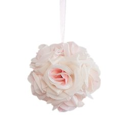 silk flowers wholesale kissing balls UK - 2pcs 15CM Artificial Rose Balls Silk Flower Kissing Balls Hanging Rose Balls Christmas Ornaments Wedding Party Decorations Rose Bouquet