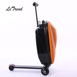 Scooter bagS online shopping - LeTtrend Micro Scooter Skateboard Rolling Luggage Fashion Trolley Business Cabin Suitcase Wheels Travel Duffle Men Carry On Bag