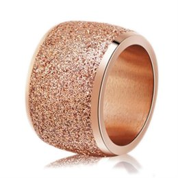 $enCountryForm.capitalKeyWord UK - New Fashion Titanium Steel Ring High Quality Black Rose Gold Silver Color Wedding engagement Frosted Rings for Women
