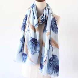 Cotton Floral Scarf Long NZ - Guttavalli Women Blue Floral Long Fringes Shawl Vintage Pink Soft Chevron Scarf Winter Flowers Stripes Navy Charm Cotton Scarves
