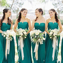 AquA color wedding dresses online shopping - Aqua Western Country Style Bridesmaid Dresses Wedding Guest Dress A Line Strapless Pleats Long Plus Size Maid of Honor Gowns
