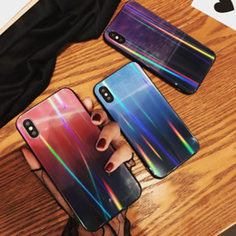 Free Cellphone Cases Australia - For iphone X Cellphone Cases Gradual Laser Tempered Glass Back Cover For iphone 7 8 6 6s plus Couple Shell Case Free DHL A795