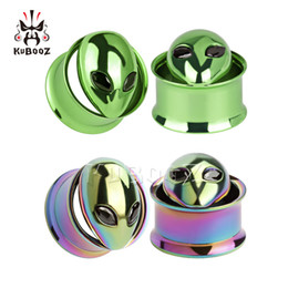 tunnel plug sizes Australia - 2017 hot alice logo stainless steel screw ear plugs piercing ear tunnels body jewelry double flared gauges mix sizes wholesale free shipping