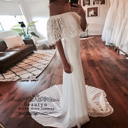 $enCountryForm.capitalKeyWord Canada - Lace Chiffon Evening Dresses Abendkleider Boat Neck Off The Shoulder Meramid Long Vintage Prom Gowns 2019 Cheap White Bridal Party Dress