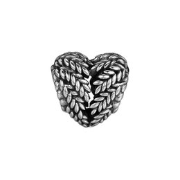 Sterling Silver Oval Bangle Bracelets Australia - New Authentic 925 Sterling Silver Bead Charm Vintage Openwork Icon Of Nature Heart Beads Fit Pandora Bracelet Bangle Diy Jewelry Making