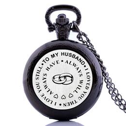 mens black pendant 2019 - Creative Antique Vintage Gifts To My Husband I Love You Mens Quartz Pocket Watch Necklace Chain Pendant Analog relogio m