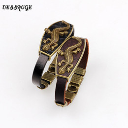 genuine lizard leather 2019 - DESSAUGE Fashion Genuine Leather Bracelet Women Statement Lizard Bracelet Bronze Alloy Gecko Clasp For Male Wrist Gift c