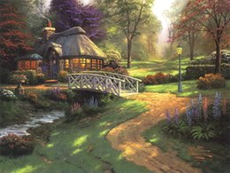 thomas kinkade prints Australia - Unframed or Framed Thomas Kinkade Landscape Oil Painting Reproduction High Quality Picture Printed On Canvas Modern Home Art Decor HT297