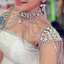 Shoulder Necklace Jewelry Australia - Rhinestone Crystal Handmade Bridal Shoulder Necklace Pearl Women Pageant Prom Wedding Shoulder Jewelry Chain Necklaces 2017
