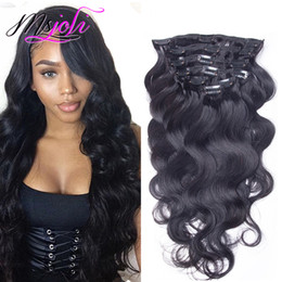 inch clip hair extensions 2019 - Brazilian Body Wave Malaysian Virgin Human Hair 120G Clip In Extension Full Head Natural Color 7Pcs lot 12-28 Inches Fro