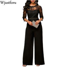 Elegant Jumpsuits Sleeves Australia - Wjustforu New Fashion Elegant Lace Jumpsuits Wide Leg Half Sleeve Ladies Loose Casual Rompers Women Jumpsuit Female Overalls