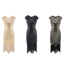 great prom dresses 2019 - Women 1920s Flapper Dress O Neck Fringed Sequins Decoration Great Gatsby Dress Art Deco Fancy for Prom Theme Party cheap