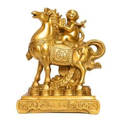 Toptan satış Çin feng shui pirinç Servet Yuanbao para Şanslı maymun Ride At heykeli