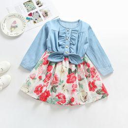 b48d76d31e27 Baby girls Floral Bowknot dress Children Long sleeves Denim flower print  princess dresses 2018 Autumn Boutique Kids Clothing C4913