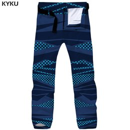 camouflaged trousers UK - wholesale Brand Graphics Cargo Pants Men Blue Tactical Pants Camouflage 3d Print Pants Retro Baggy Punk Rock Mens Trousers Overalls
