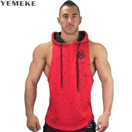 Venta Al Por Mayor Sin Mangas Hoodies Baratos-Al por mayor-YEMEKE Brand Bodybuilding Stringer Tank Tops Hoodies Sportwear Tanktops Fitness Men Clothing camisetas sin mangas con capucha