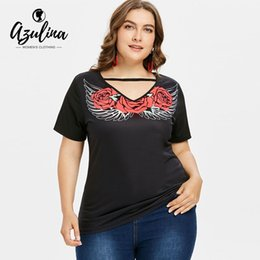 big plus size t shirt NZ - AZULINA Plus Size Flower Wing Print Women T Shirt Summer V Neck Short Sleeve Top Ladies T-Shirt 2018 Causal Tops Tees Big Size