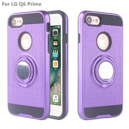Wholesale Armor Cell Phone Case TPU PC Magnetic Suction Bracket For LG Q6 Q6 Prime Case Cover Degree Holder A