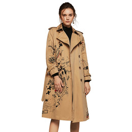 Wholesale WQJGR Autumn And Winter Trench Coat Women Long Sleeve Printing Windbreaker Trench Femme