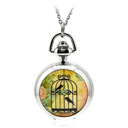 Wholesale A125 Modern Silver Quartz Pocket Fob Watches Necklace Pendant Relogio De Bolso Women Watch Creative Cartoon Birdcage Gift