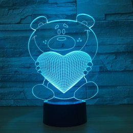 $enCountryForm.capitalKeyWord Canada - Bear Heart 3D Optical Illusion Lamp Night Light DC 5V USB Powered 5th Battery Wholesale Dropshipping Free Shipping