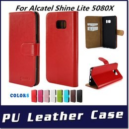 shining leather bags NZ - Wallet case For Alcatel Shine Lite 5080X PU Leather phone cover inside credit card slots with opp bags C