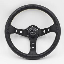 Черная вершина спортивный руль 13inch 330мм гонки Ралли дрейф автомобиль кожаный руль