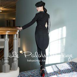 9082d55b38b 40- le palais vintage 50s black wool tuxedo coat plus size elegant jacket  blazer feminino manga longa mujer pinup bandage jacket