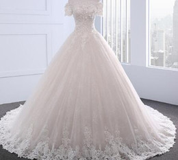 Strapless Chiffon Wedding Dresses Beaded Sash NZ - Dream Angel Short Sleeve Boat Neck Flowers Wedding Dress 2018 Sexy Appliques Beaded Vintage Bride Gown Robe De Mariage Plus Size