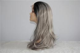Wig Grey Australia - Lumeng Black Ombre Grey Wigs High Temperature Fiber 24 Inch 280g Full Head big Wave Long Nuatral Wave Gray Synthetic Wig