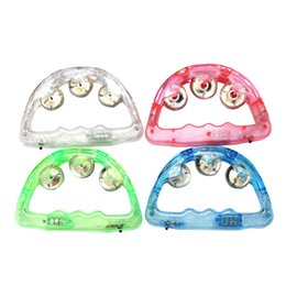 baby light toy UK - 50pcs lot Colorful LED Flashing Baby Rattle Hand Bell Light Up LED Tambourine Luminous Toys Bar KTV Party Cheering Prop