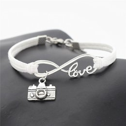 $enCountryForm.capitalKeyWord Australia - 2019 Newest Silver Color Infinity Love Photograph Camera Pendant Bracelets for Women Men Simple White Leather Suede Rope Couples DIY Jewelry