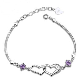 Wholesale 925 Silver Bracelets Cheap Australia - 925 sterling Silver Heart Bracelets Chains Happiness Signal Double Heart AAA Purple White Crystal Bracelets Valentine Day Jewelry Gift Cheap