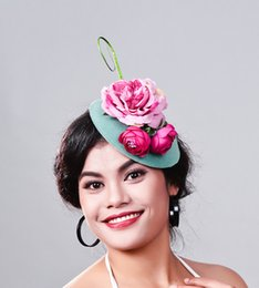 Fascinators hats wholesalers online shopping - elegant Ladies royal fascinators Polyester fascinator women linen feather hat wedding party hair accessory feather hat MD16024