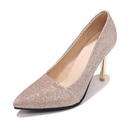 pink glitter shoes NZ - SJJH 2018 Glitter Fabric Pumps with Pointed Toe and Stiletto Elegant Working Dressy Shoes for Fashion Women with Large Size Available A320